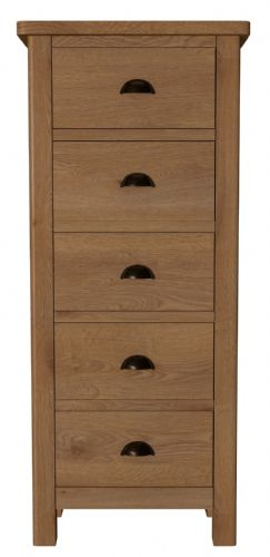 Richmond Rustic Oak 5 Drawer Narrow Chest